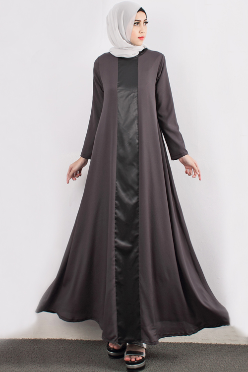 Satin leather with a cut jubah dress including shawl for Modern house dress