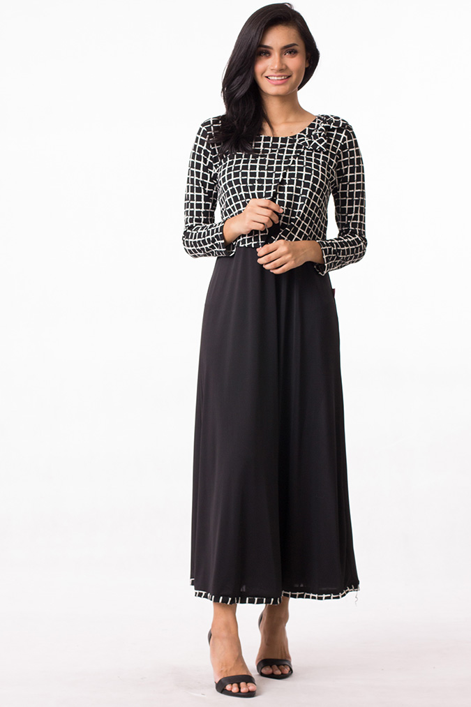 Modern muslim fashion jubah dress grid design modern dress