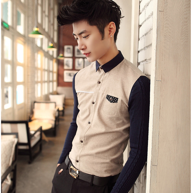 Korean Fashion Style 2014 For Men long sleeves shirts men s