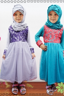 Lace Design Jubah Dress (Including Shawl)