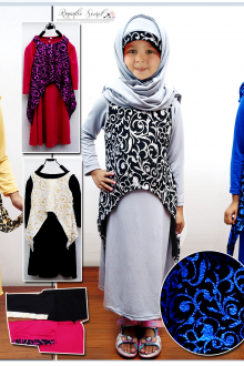 2 Pcs Joint Retro Printed Design Jubah Dress (Including Shawl)
