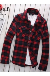 Plaid Men Shirt with Pockets