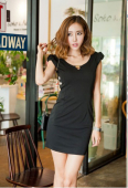 V neck Slim Side Open Dress