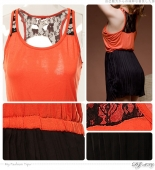 2 Pieces Joint Tank Top with Chiffon Skirt