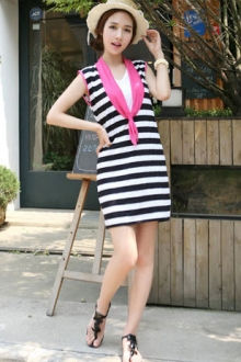 Stripe Sailor Design Dress with Scarf Collar