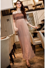 Off Shoulder Chiffon Long Dress with Inner 