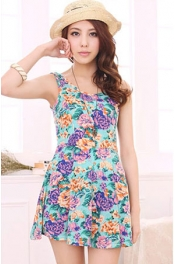 Flower Printed Round Neck Short Dress 