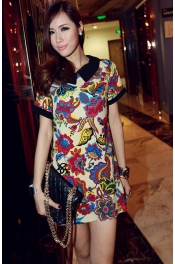 Flower Printed Collared Dress