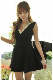 V Neck Sequin Collar Flare Dress 