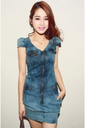 V Neck Zip Up Denim Dress 