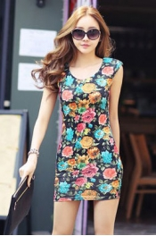 Retro Flower Printed Short Dress 