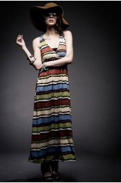 Cross Back Colorful Stripes Long Dress