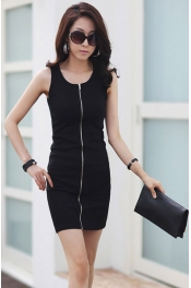 Zip Up Casual Slim Dress 