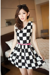 Black and White Plaid Basic Dress 