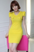 V Neck Slim Dress with Puff Sleeve