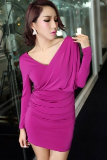 V Neck Layered Design Slim Dress