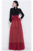 High Waist Net Design Long Skirt (without Ribbon)