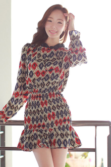 Retro Design Puff Sleeve Dress