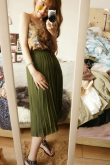 2 Pieces Floral Singlet with Pleated Chiffon Skirt