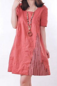 Square Neck Casual Tunic Dress