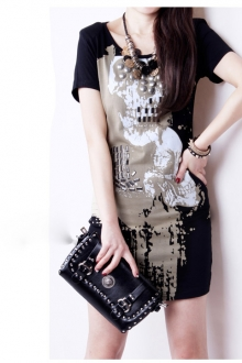 Skull Printed Casual Short Dress with Beads