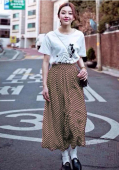 High Waist Polka Dots Design Long Skirt