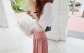 Flower Printed Pleated Long Slit Skirt
