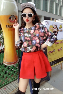 2 Pieces Colorful Flower Printed with Short Skirt