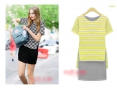 2 Pieces Stripes Top with Inner Dress