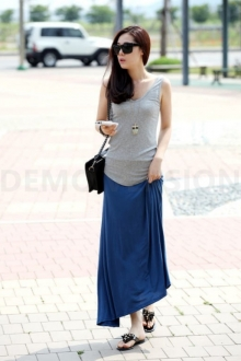 Basic Women Flare Long Skirt