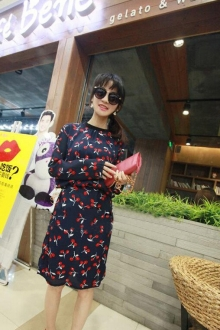 Cherries Printed Chiffon Midi Dress