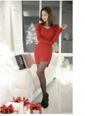 Asymmetric V Neck Puff Sleeve Dress
