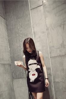 Head Printed Sleeveless Dress