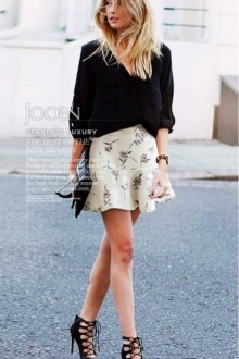 Flower Printed Ruffles Mini Skirt
