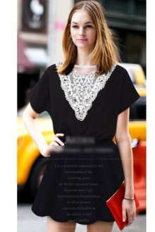 Trendy V Lace Collar Design Dress