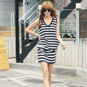 Stripes Design V Neck Women Dress