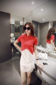 2 Pieces Joint Asymmetric Top with Lace Dress