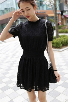 Lace Design Short Sleeve Dress