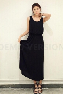 Round Neck Basic Long Dress