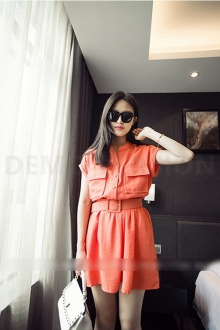 Half Button Waist String Women Dress with Pockets