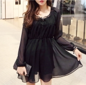 Ruffles Design Chiffon Short Dress