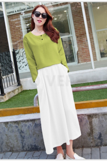 2 Pieces Round Neck Top with Long Skirt