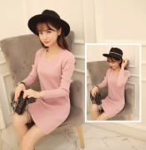 Scallop Edge Neckline Slim Dress