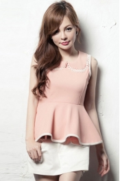 Sleeveless Peplum Top with Collar 