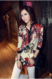 Half-Button Floral Printed Long Sleeve Top 