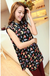 Cartoon Printed Collared Chiffon Top
