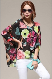 Floral Design Oversize Chiffon Top
