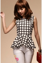 Plaid Design Peplum Top 