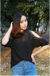 Off Shoulder Bead Sleeve Chiffon Top