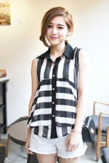Monochrome Design Collared Chiffon Top